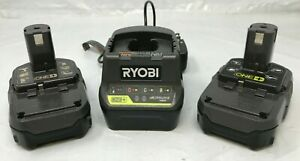 Ryobi 2 batteries P102-18V One+ Lithium Ion Compact Battery & CHARGER, LN