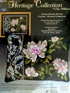 Elsa Williams Heritage Collection Crewel Embroidery Kit~Guilded Peonies Pillow