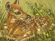 ACEO Deer fawn wildlife Landscape print of painting