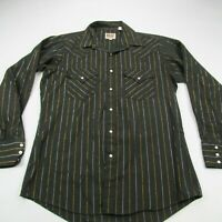 Ely Cattleman Western Pearl Snap Shirt 15 1/2 34 Pockets Brown Stripes Cowboy