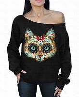 Sugar Skull Cat Off The Shoulder Oversized Slouchy Sweater Sweatshirt