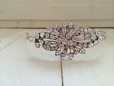 Nupcial Diamante Cristal Plata Tiara Diadema Vincha Boda Novia lateral