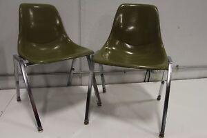 Pair Unit Plastic Inc Fiberglass Side Shell Chair Green Eames Herman Miller Aura