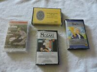 LOT OF FOUR CLASSICAL MUSIC CASSETTE TAPES :MOZART,  2 BACH, BRAHMS