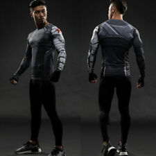 Winter Soldier Men Superhero Compression Long Short Sleeve T-shirt Cosplay Tops