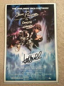 Genuine Hand Signed Star Wars Picture By Mark Hamill & Dave Prowse