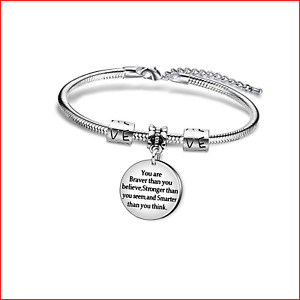 Best Friend Bangle Bracelet Family Gifts Cute Elephant You Are Braver Stronger