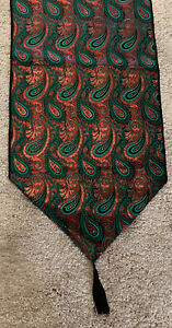 """Paisley red & green peacock feather design Christmas table runner 12"""" x 68""""L"""