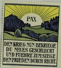 PAX Den Krieg Nun Bekriege Du Neues Geschlecht Poster Stamp Label Original F59