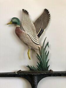 Vintage Wrought Iron Weathervane Painted Bird Top