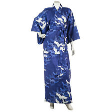 Navy Blue Crane Long Japanese Cotton Kimono XL