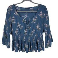 American Eagle Floral Peasant Top Women's Size L Smocked Peplum Ruffle Hem Blue