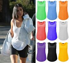 New Womens Loose Gym Tank Slub Graphic Plus Size Tee Burn Out Muscle Vest Tops