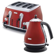 Delonghi Icona Kettle + 4-Slice Toaster Breakfast Bundle - Red - Designer - New
