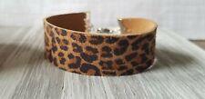 Leather bracelet leopard adjustable cuff wrap minimalist USA Seller