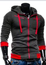 Japan Style Herren Sweatjacke Hoodie Kapuzenpullover Jacke M bzw S grau rot NEU