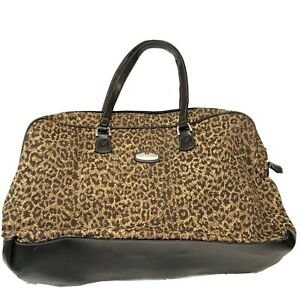 RICARDO BEVERLY HILLS LUGGAGE TOTE Weekender BAG Zip Closure Brown Black Leopard
