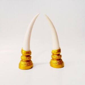 1 Pairs Elephant's Tusks Made From Plaster Enchanted Spell By Phra Sawet Muninth