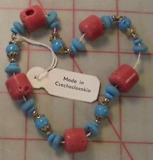 1 Vintage Czech Glass Bead Former Elastic Bracelet Coral Turquoise Tibet Style