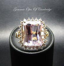 18ct Gold 15tcw Mawi Kunzite and Diamond Ring Size O 6.4g
