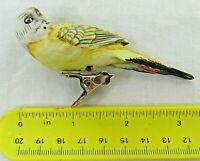 "Vintage Yellow Parakeet Christmas Ceramic Clip On Ornament Japan 3.5"" Long"