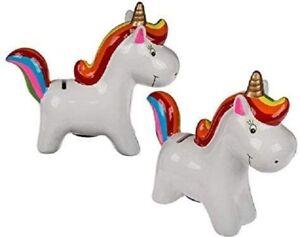 Große Unicorn Keramik Spardose Mit Regenbogen Mähnen- & Tail Schweinchen New