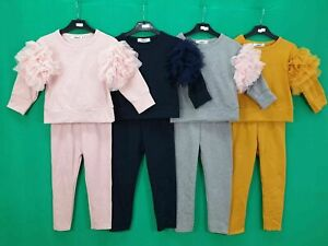 GIRLS FRILLED TUTU SLEEVE TRACKSUITS LOUNGE SET NEW 4-14 YEARS PINK NAVY GREY