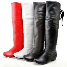Ladies Club Shoes Synthetic Leather Low Cuban Heels Knee High Boots AU Size b069