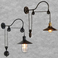 Industrial Adjustable Loft Pulley Wall Sconce Mounted Light Lamp Aisle Fixture