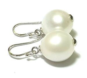 Oval 11.8x12.2mm Natural Cream White Australian South Sea Pearl Dangle Earrings