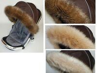 LUXURY fur hood trim for pram pushchair  My Babiie  fit all models in cream