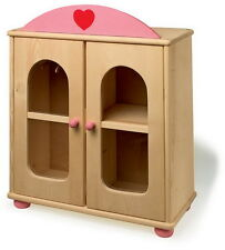 SOLID WOOD DOLL'S WARDROBE CUPBOARD WITH HANGERS PINK AND NATURAL WOOD DESIGN