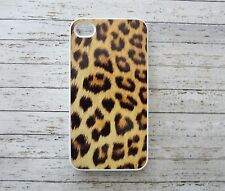 IPhone 4 / 4S Leopardo Animale Stampa Gatto Modello Custom Hard BIANCO COVER