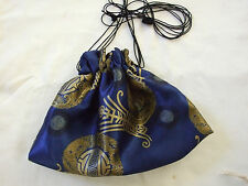"HANDMADE LINED DRAWSTRING  12""BY 8""  BLUE  CHINESE SILKY PRINT TAROT BAG"