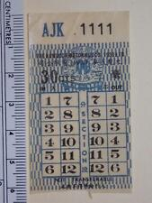 "Hong Kong ""The KMB Co. (1933) Ltd."" 30c Ticket Lucky No. ""AJK 1111"" Rare"