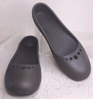 CROCS Women Sz 11 Ballet Flat Prima Khaki Brown Loafer Comfort Slip On Shoe EUC