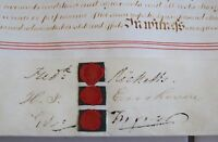 2 Page Antique July 1845 Leather Vellum Parchment Seals Law Office Display LAYBY