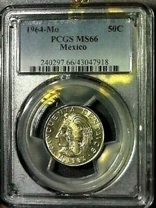 HISPANIC HERITAGE MONTH EXTENDED SALE-1964-Mo PCGS MS66 MEXICO 50c COIN KM#451