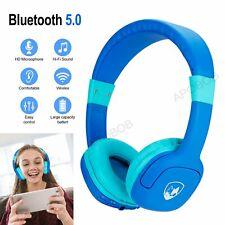 3.5mm Kids Wired Over-Ear Headphone Headsets Earphone On Ear Blue Volume Control