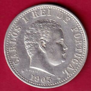 INDIA PORTUGUEZA 1903 CARLOS I UMA RUPIA RARE SILVER COIN #KP17