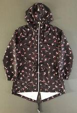 Kolibri Damen Regenjacke Windbreaker Pocket Parka Mantel Kapuze Jacke Vögel S-M