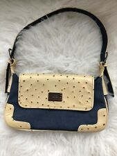 Tommy Hilfiger Women's Handbag Jean and Yellow Leather Faux Ostrich Handbag