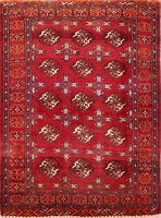 Dazzling Hand-Knotted All-Over Geometric Balouch Oriental Wool Area Rug Red 4x6