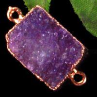 Wrapped Titanium Crystal Agate Druzy Quartz Geode Oblong Pendant Bead S28745