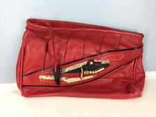 Vintage Meyers Red Boho Clutch beaded Anthro oversized 1980's