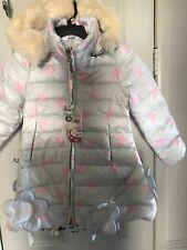 Girls Jacket Warm Winter 6 Year Old Grey Pink Hearts Flowers Hood