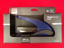 Brand New TruePress Stapler Quiet Jam Free Lightweight Less Effort Black/Blue