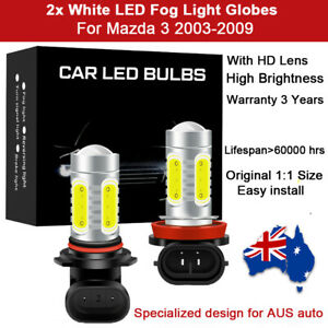 For Mazda 3 2003-2009 2x Fog Light Globe Spot Lamp 8000LM White LED Bulb HD Lens
