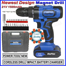 21-Volt Drill 2 Speed Electric Cordless Drill/Driver With Bits Set & Battery NEW