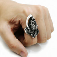 Men's Skull Grim Reaper Anarchy Stainless Steel Biker Ring Punk Jewelry